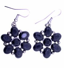 Goth vintage style silver and black acrylic flower earrings