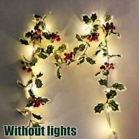 Artificial Christmas Rattan Berry Flower Garland Wreath Tree AU Green A7G2