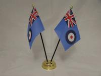 RAF Table Flag Plastic Polyester Gold Base 27cm Tall