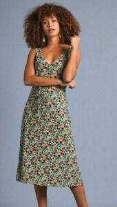 King Louie Kleid geblümt Blumen grün rot gelb Binde-Gürtel Anna Dress Sweetpea