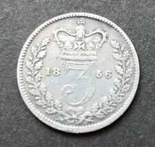 More details for 1856 queen victoria silver three pence coin #103