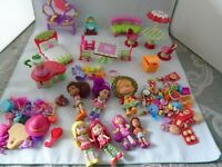 Strawberry Shortcake 7 Doll Lot, Picnic in the Petals Set & Accessories