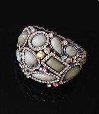 Grigio - Bianco bracciale Braccialetto topazio pietre cristalli Naturale ,donna
