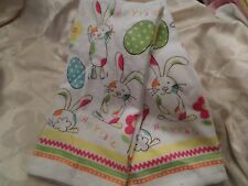 Ritz Easter Bunny & Eggs White w/ Blue, Pink & Yellow Cotton Kitchen Towels NWT
