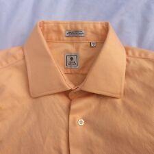 Peter Millar Mens 17 1/2 L Dress Shirt Orange Long Sleeve Button Front