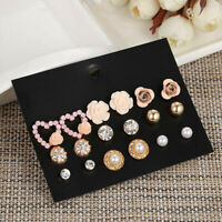 9Pairs/Set Crystal Pearl Flower love Heart Stud Earrings Set Statement Jewel ST