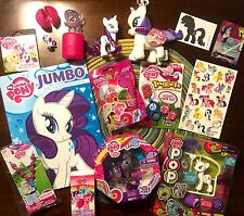 My Little Pony FIM Rarity 18 Item Gift Set LOT 7 Figures Activities Necklace