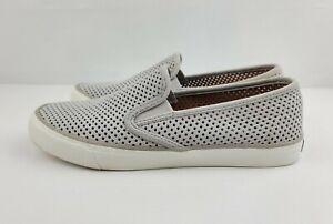Sperry Top Sider Women Size 8.5 Gray Seaside Perforated Memory Foam Slip On Shoe