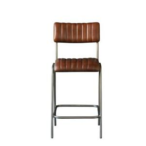 DINER Bar Stool Brown Ribbed Leather Seat with Nickel Base , 66 cm