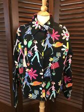 Take Two Women's Jacket Black Multi-Color Floral Shopping Bling Novelty Size XL