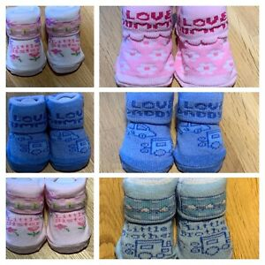 CUTE BABY SOCKS SISTER/BROTHER/MUMMY/DADDY BLUE/PINK 0-6 MONTHS BOY GIRL GIFT