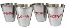 BULLET FOR MY VALENTINE - SET OF 4 METAL RED LOGO SHOT GLASSES NEW OFFICIAL
