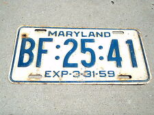 1959 MARYLAND License Plate BF 25 41 March 31 expiration Tag MD x