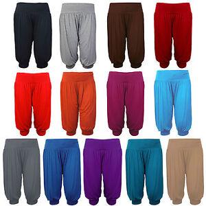 Ladies 3/4 Harem Baggy Shorts Women Plain Cropped Ali Baba Trouser Pants 8 - 16