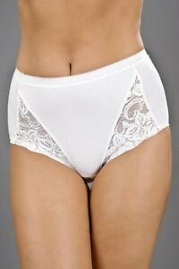 Ladies White Lace Comforts STETCH Maxi Briefs 3 PaIr pack size 12,14,16,18,20,22
