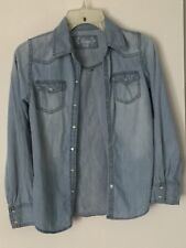 Mudd  Girls Long Sleeve Denim Blouse Size M (10-12)
