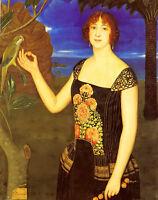 Oil painting miguel viladrich portrait of lady & parakeet in tropical landscape