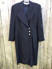 ADELE SIMPSON Women's 12 BLACK Coat Dress 100% Silk Textured Wrap Rhinestone Btn