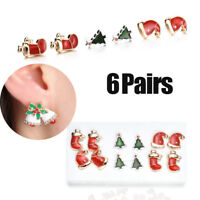 6 Pairs/set Women Christmas Earrings Xmas Stocking Bell Hat Tree Ear Stud Dangle