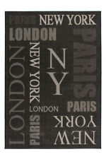 Flachflor Teppich Modern New York Paris London Design Teppiche Graphit