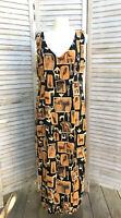 Mica Vintage Giraffe Rayon Dress Sz L Front Slit Safari African Maxi V Neck