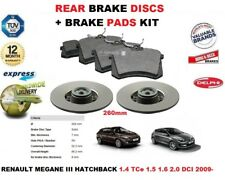 FOR RENAULT MEGANE III HATCHBACK 2009-> REAR BRAKE DISCS SET + DISC PADS KIT