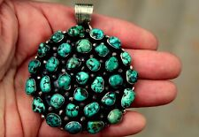 Gorgeous Giant Navajo Sterling Silver & Nevada Mine Turquoise Cluster Pendant