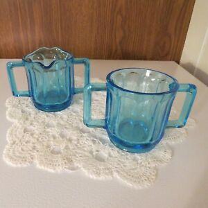 Tiara Exclusives Blue Aqua Glass Linear Panel Double Handle Sugar and Creamer