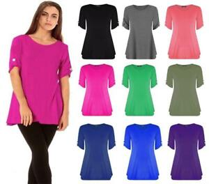 Womens Short Turn Up Button Sleeves Plus Size Ladies Flared Swing Dress Long Top