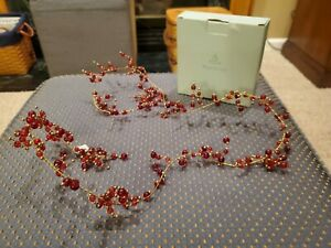 "Partylite Red Glass Beaded Garland 48"" on Gold Wire"