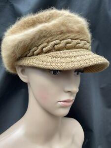 NEW Vintage Women's Faux Fur Visor Cap Hat Tan Size Medium Knit Fleece Lined