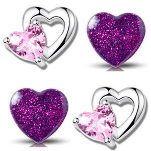 2x Kinder Ohrringe 925er echt Silber Kristall Herz kleine Ohrstecker für Mädchen
