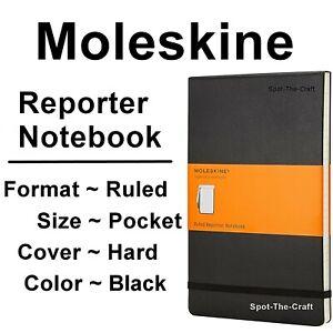 Moleskine Notebook Reporter Pocket Ruled Black Hard Cover