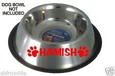 CUSTOM PET NAME FOOD BOWL DOG CAT 300mm STICKER Decal Personalised