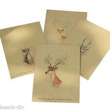 4PCs BD Deer Painted Retro Yellow Kraft Paper Envelopes 16x10.8cm