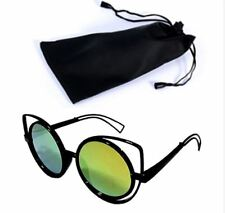 Circular Sunglasses Black Frame Green Lens Shades with Pouch