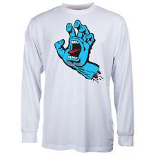 Santa Cruz Neu Herren Langarm Schreiende Hand T-Shirt - Weiß BNWT