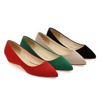 Womens Pointy Toe Casual Shoes Wedge Low Heels Slip On Loafers Preppy Pumps Size