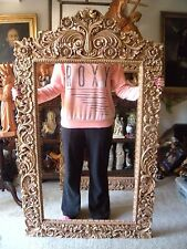 Hand Carved wood heavy Wide Ornate Floral Baroque Picture Mirror Frame 63X 37 IN