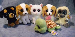 W-F-L TY Beanie Boos Glubschi Rarities I Dog Cat Monkey Selection Stuffed Toy