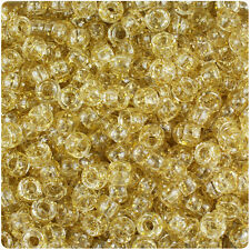 1000 Gold Sparkle 7mm Mini Barrel Plastic Pony Beads Made in the USA