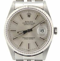 Rolex Datejust Mens Stainless Steel & 18K White Gold Watch Jubilee Silver 16234
