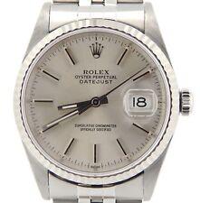 Rolex Datejust Mens Stainless Steel & 18K White Gold Watch Jubilee Silver 16234