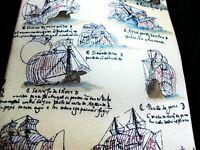 EUC Museum Artifacts 100% Silk Explorers Armada Spanish History Ships Ivory Tie
