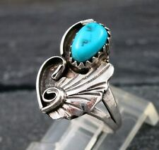 Old Pawn Indian Sterling Silver 925 Turquoise Leaf Flower Design Ring Size 4.75