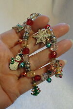 Glass and Metal Bead Bracelet New listing Christmas Themed Stretch Charm,