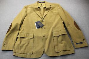 Ralph Lauren Men Madison Khaki Leather Elbow Patch Sportcoat Blazer NWT 44R $595
