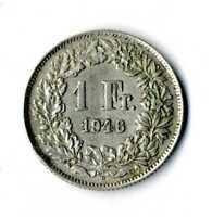 Moneda Suiza 1946 B 1 franco suizos plata .835 silver coin Helvetia