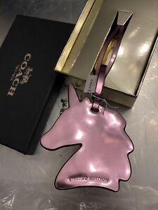 "NIB!! Coach Uni Unicorn Pink Metallic Leather Purse Bag Charm Fob 2017 3""x4"""