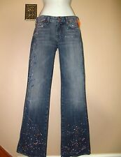 RARE $189 Seven 7 For All Mankind A-Pocket Bootcut Paint Splatter Jeans 24 XXS